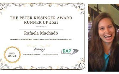 2021 iRAP पीटर किसिंजर रनर-अप पुरस्कार SR4S ग्लोबल प्रोग्राम समन्वयक को जाता है
