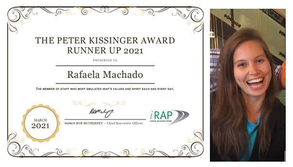 2021 iRAP Peter Kissinger Runner-up Award goes to SR4S Global Programme Coordinator